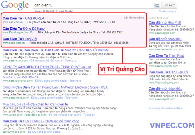 Bảng giá quảng cáo google VIP