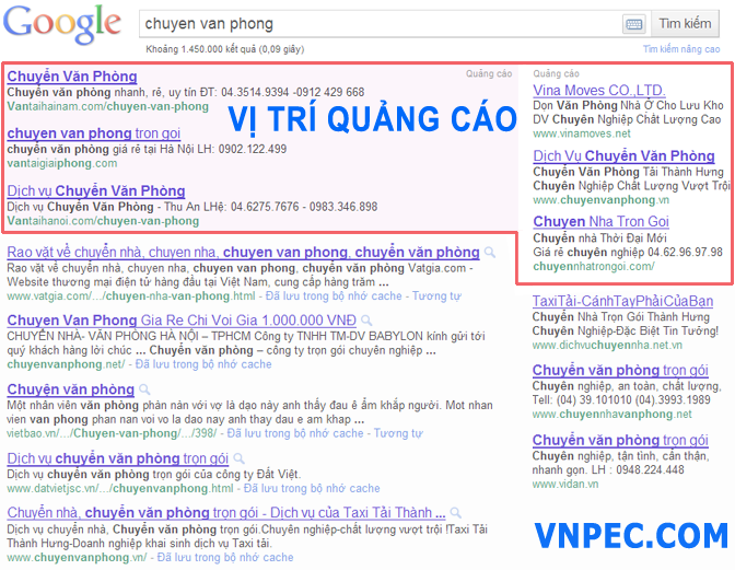 Bảng giá quảng cáo google Top