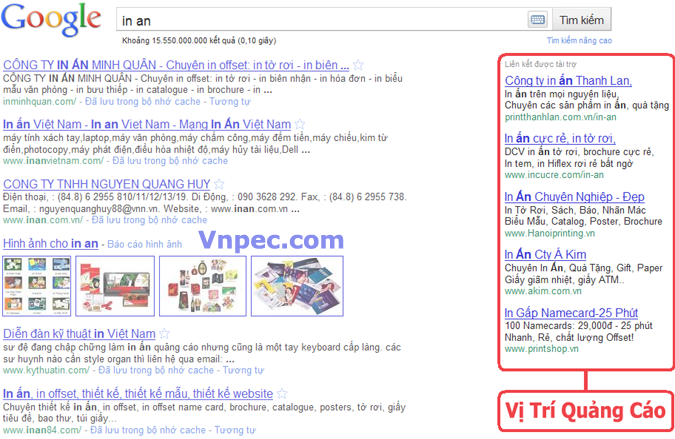 Bảng giá quảng cáo Google Awords